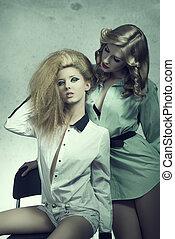 two sensual fashion girls
