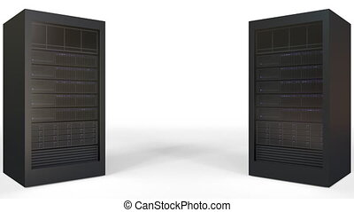 Two server racks against white background, blank space for...