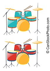 Two sets of drumset in blue and red illustration