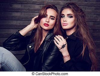 Two sexy beautiful woman with bright makeup
