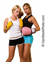 Two sexy boxers - Portrait of two women wearing shorts and...