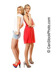 Two sexy fashion women in summer clothes - Full length two ...