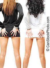 two sexy girls isolated over white background