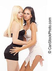 Two sexy lesbian women hugging
