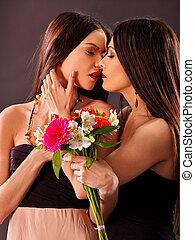Sexy lesbians kissing something