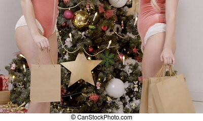 Two sexy women in underwear are stand at Christmas tree with bags after shopping.
