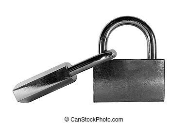 Two shabby door lock - Two shabby closed door lock isolated...