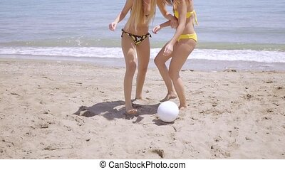 Two shapely young woman playing on a beach