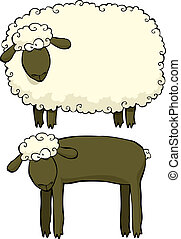 Two sheep on a white background vector illustration
