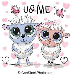Two Sheep on a hearts background