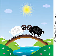 two sheep - toy landscape - sun, blue sky, river, bridge and...