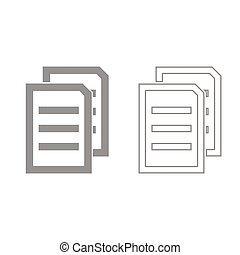 Two sheets of document grey set icon .
