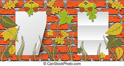 Two Sheets of paper hanging on a red brick wall. Horizontal Autumn background with leaves and acorns.
