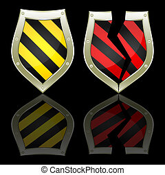 Two shields on a black background.