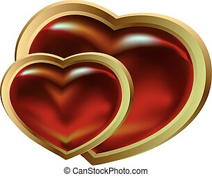 two shining claret gold hearts