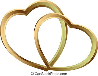 two shining gold hearts