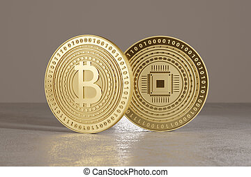 Two shiny golden bitcoins standing on metal floor as concept...