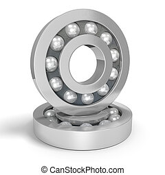 Two shiny steel ball bearings on a white background, one...