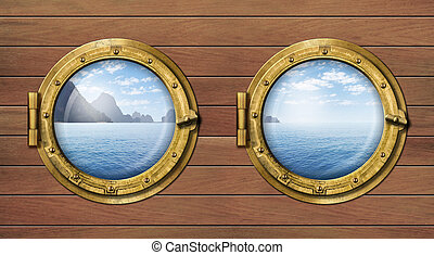 two ship windows or portholes with sea or ocean with tropical island. Travel and andventure concept.