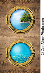 Two ship windows with ocean tropical island and underwater deep