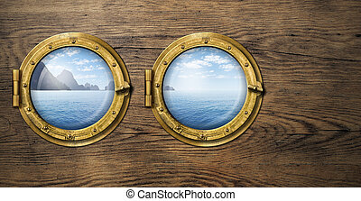Two ship windows with tropical sea or ocean island. Travel...