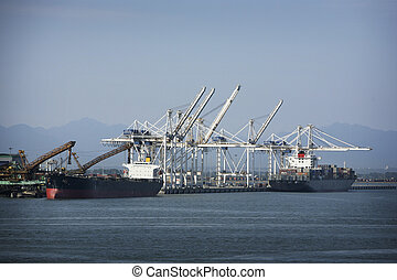 container port - two ships at the container port of ...