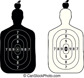 two shooting targets in the form of a silhouette of a man with an Apple on head