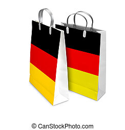 Two Shopping Bags opened and closed with Germany flag. Retail bu