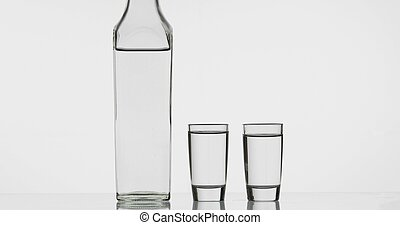 Two shots of vodka in glasses and bottle. White background