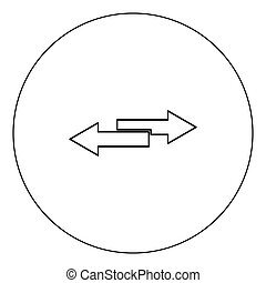Two side arrows icon black color in circle vector illustration isolated