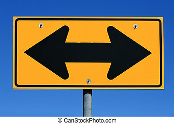 two sided arrow road sign - two sided black and yellow road...