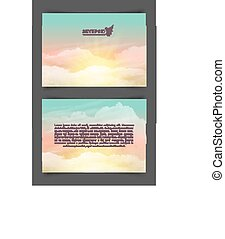 Two-sided horizontal flyer of a4 format with realistic turquoise-yellow sky