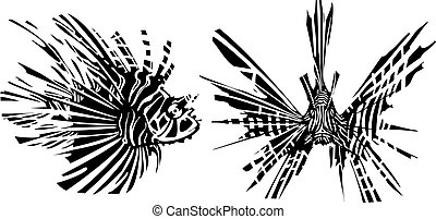 Two sides of a Lion Fish - Woodcut style image of a tropical...