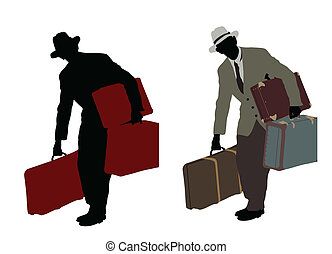 Two silhouette of a traveler with suitcases