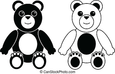 Two Silhouette of Teddy Bears - Black and White Silhouettes...