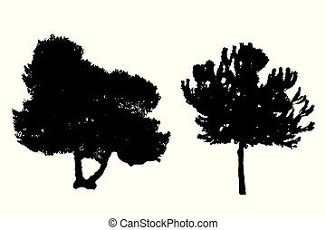 two silhouette trees vector set