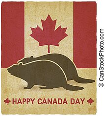 Two silhouettes of beaver on canadian flag background