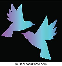 Two silhouettes of neon birds