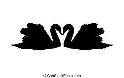 two silhouettes of swans