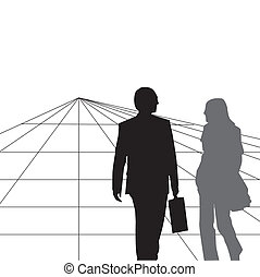 Two silhouettes - The image of two silhouttes placed infront...