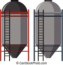 Two silo with ladders illustration