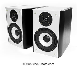 silver and black speakers - Two silver and black speakers...