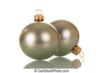 Two silver Christmas ball isolated on white