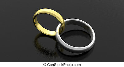 Two silver joined wedding rings isolated on black background, 3d illustration