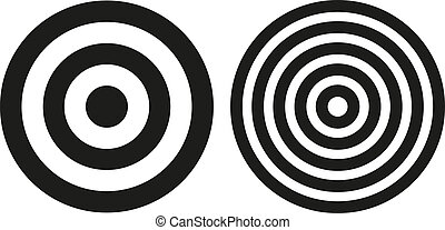 Two simple bullseye targets - Set of 2 isolated simple black...
