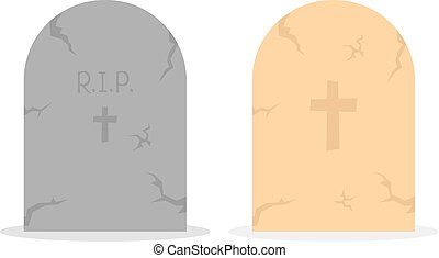 two simple tombstone icon. concept of affliction, fatal,...