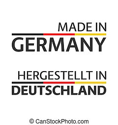 Two simple vector symbols Made in Germany, signs with the German tricolor isolated on white background
