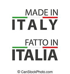 Two simple vector symbols Made in Italy, In the Italian language - Fatto in Italia, simple vector symbol with Italian tricolor isolated on white background