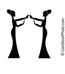 singers in silhouette