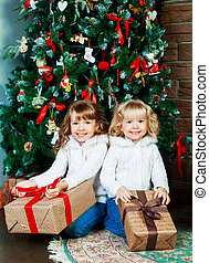 two sisters at home at Christmas